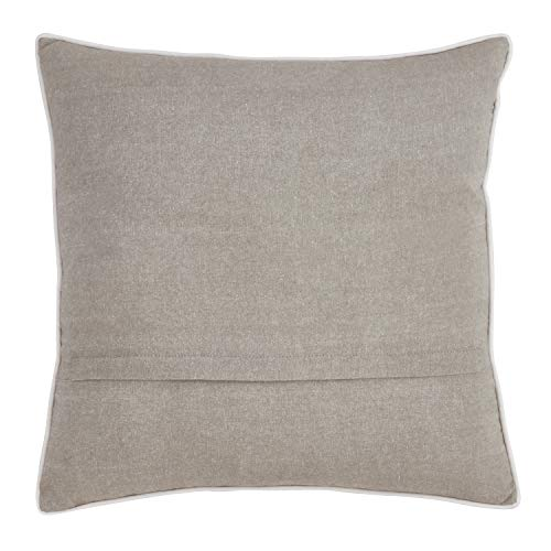 Fennco Styles Llama Embroidered 100% Pure Cotton 18 x 18 Inch Throw Pillow with Case + Insert – Grey Throw Pillow for Couch, Bedroom and Living Room Décor