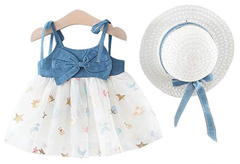 Styles I Love Baby Girl Sleeveless Bowknot Denim Tutu Dress with Hat 2pcs Set Princess Girl Party Dress Outfit