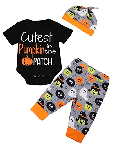 StylesILove Unisex Baby Boys Girls Black Cutest Pumpkin in The Patch Bodysuit and Bottom with Hat 3pcs Cotton Outfit