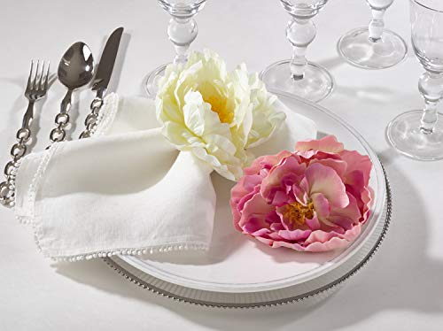 Fennco Styles Handmade Peony Napkin Rings, Set of 4 - Pink Flower Decorative Napkin Holders for Home, Dining Table, Banquet, Family Gathering, Holiday and Special Occasion
