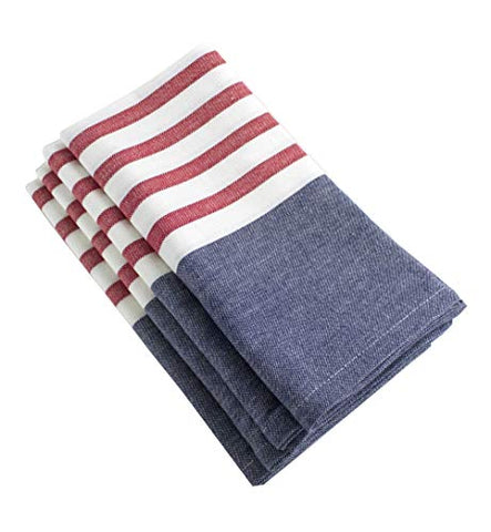 "Fennco Styles American Flag Striped Cotton Table Linen, Napkins, Placemat (20""x20"" Napkin - Set of 4)"