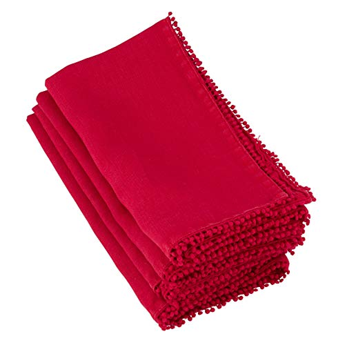 "Fennco Styles Pomponin Collection Pompom Design Cloth Napkins 100% Linen (20""x20"" Napkin, Red)"