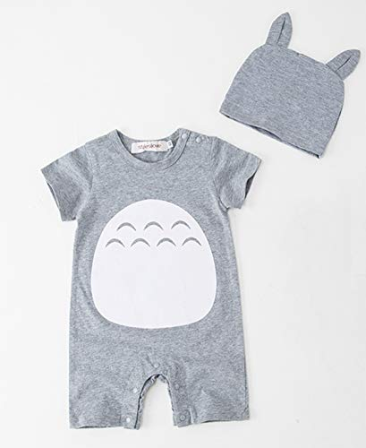 Styles I Love Unisex Baby Boys Girls Grey Short Sleeve Cotton Romper with Hat 2pcs Set Summer Jumpsuit Outfit