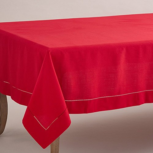 "Fennco Styles Rochester Collection Tablecloth with Hemstitched Border - Red - 84"" Square"