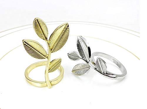 Fennco Styles Delicate Leaf Metal Napkin Rings, Set of 4 - Gold Plated Napkin Holders for Home Decor, Dining Table, Banquets, Family Gathering and Special Occasions