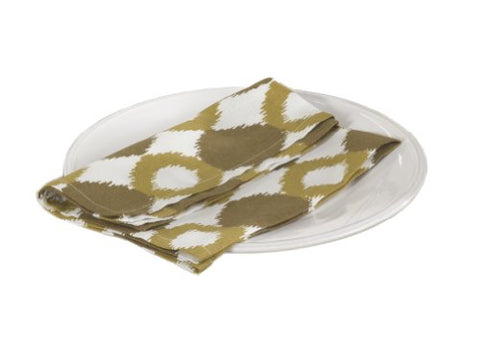 "Mosanique Ikat Design Cotton Napkins, Chartreuse Color, 20""x20"", Set of 4"