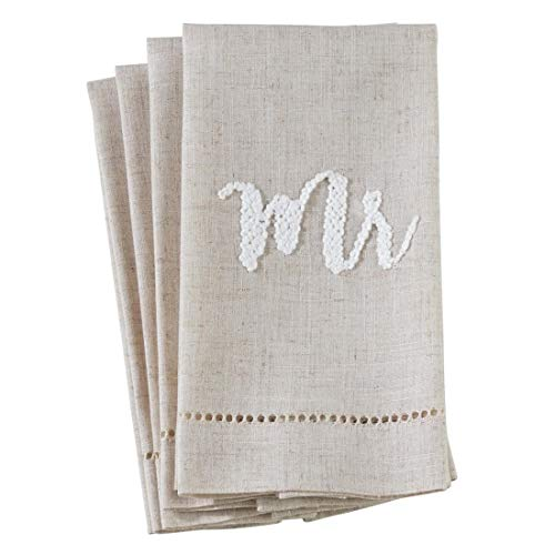 Fennco Styles Hemstitch Design Linen-Poly Guest Towels 14x22 Inch, Set of 4