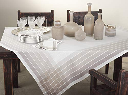 Fennco Styles Café Roma Striped Design Ombré Ivory Tablecloth for Home Décor, Dining Room, Parties, Machine Washable