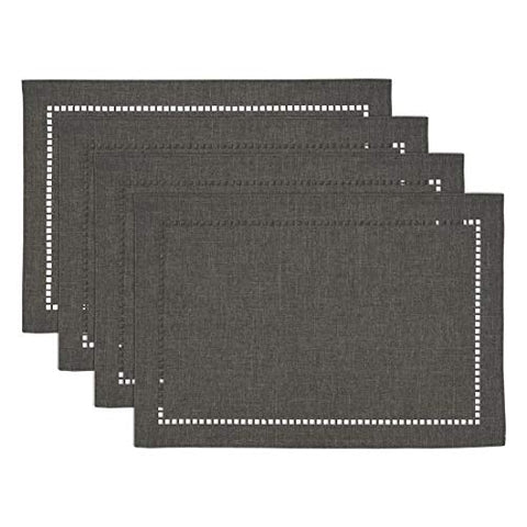 "Fennco Styles Solid Color Laser-Cut Hemstitch Design Table Placemats 13"" W x 19"" L, Set of 4 - Classic Table Mats for Dining Table Décor, Banquets, Holiday, Family Gathering and Special Occasion"