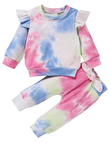 Styles I Love Baby Toddler Girls Ribbed Tie Dye Long Sleeve Ruffle Top and Bowknot Pants 2pcs Cotton Outfit