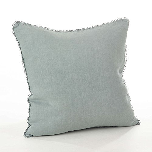 "Fennco Styles Pomponin Collection Pompom Design Down Filled 100% Linen Decorative Throw Pillow 20"" W x 20"" L"