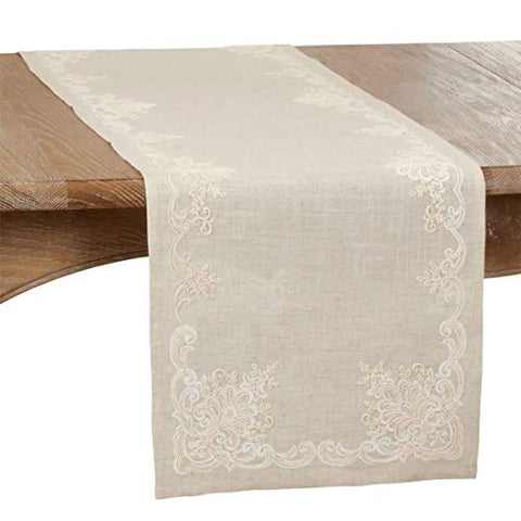 Fennco Styles Elegant Embroidered Floral Table Runner
