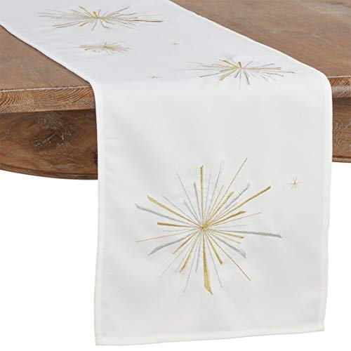 Fennco Styles Metallic Starburst Holiday Table Runner 14 x 72 Inch