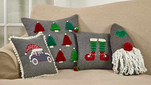 Fennco Styles Santa Hat and Car Wool Blend Fringed Decorative Throw Pillow 12 Inch Square