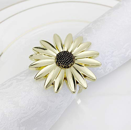 Fennco Styles Contemporary Sunflower Daisy Metal Napkin Rings, Set of 4 - Gold Plated Napkin Holders for Home, Dining Table Décor, Holiday Gathering and Special Occasion