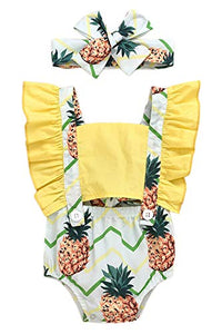 Styles I Love Baby Girl Pineapple Print Ruffle Open Back Romper Sunsuit with Headband 2pcs Set Summer Outfit