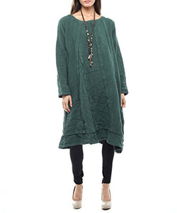 Styles I Love Women's Hand Stitched Loose Fit Dress, 4 Colors, Size M/L (Green)