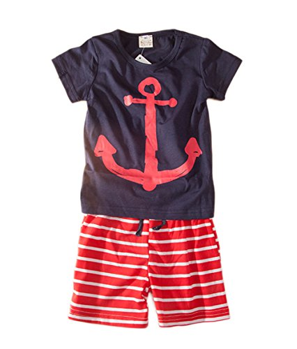 stylesilove Baby Boy Cute Graphic T-Shirt and Striped Shorts 2-pc Set