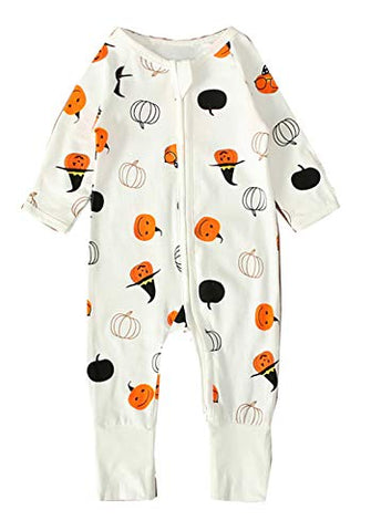 Styles I Love Unisex Baby Boys Girls Cute Little Witch Pumpkin Print Long Sleeve Zipper Romper Halloween Autumn Outfit