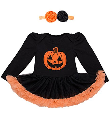 stylesilove Infant Baby Girls Pumpkin Long Sleeve Cotton Romper Tutu Dress and Headband 2pcs Halloween Outfit