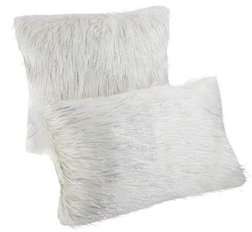 Fennco Styles Holiday Christmas Decorative Exquisite Faux Fur with Silver Metallic Thread Throw Pillow