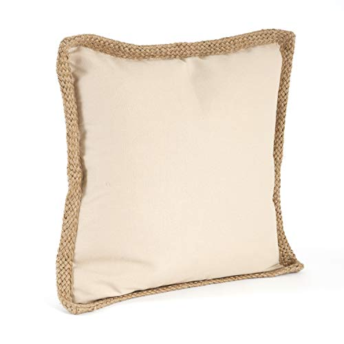 "Fennco Styles 20"" Jute Braided Cotton Throw Pillow, Down Filler Included, 8 Colors"
