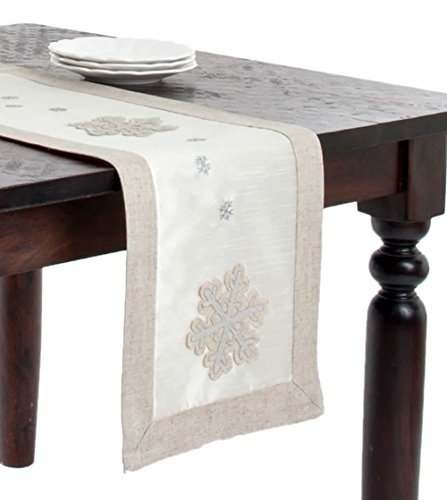 "Fennco Styles Appliqué Snowflake Design Table Runner - 13""x72"""