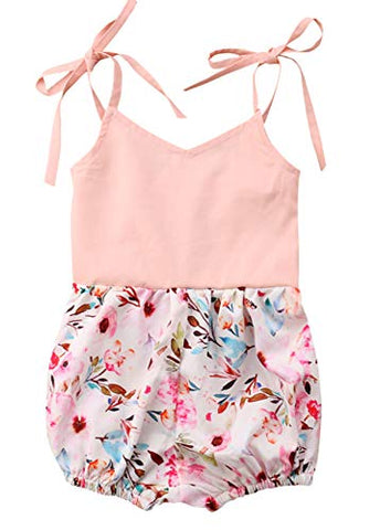 Baby Girls Floral Printed Sleeveless Pink Sunsuit Romper Spring Summer Jumpsuit Outfit