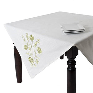 Fennco Styles Jardin Botanique French Knots and Ribbon Embroidered Flower Tablecloth, Ivory