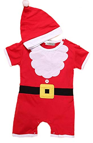 stylesilove Baby Christmas Santa Costume Romper with Hat 2pcs Holiday Outfit