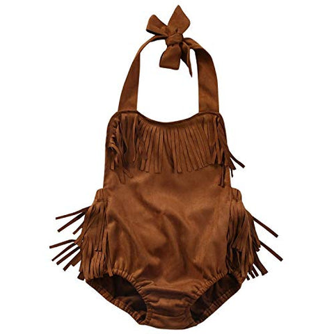 StylesILove Infant Baby Girl Summer Halter Fringe Suede Brown Sunsuit Romper