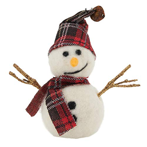 Fennco Styles Handmade Wool Blend Creative Christmas Ornament - Red Plaid Snowman for Christmas Tree Décor, Holiday, Home, Tabletop and Kids Room Decorations