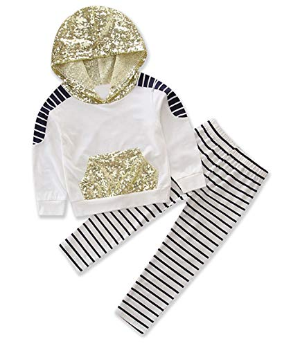 Styles I Love Baby Girls Sequins Striped Hooded Sweatshirt and Pants 2pcs Long Sleeve Cotton Outfit