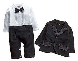 Stylesilove Baby Boy Tuxedo Romper and Jacket 2-pc Formal Wear Suit
