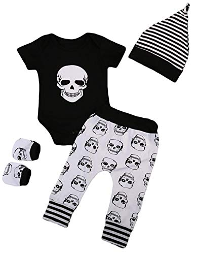StylesILove Baby Boys Skull Print Black Short Sleeve Bodysuit, Pants, Mittens and Hat 4pcs Cotton Halloween Outfit