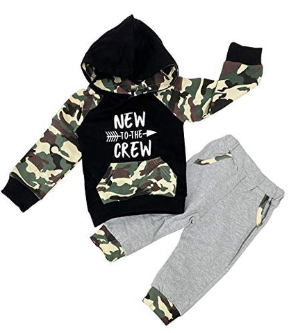 Styles I Love Baby Boys Black Long Sleeve Hoodie New to The Crew Print and Pants 2pcs Cotton Camouflaged Outfit