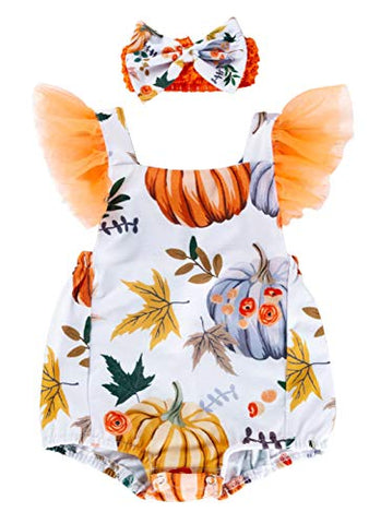 Styles I Love Infant Baby Girls Harvest Pumpkin Print Cross Back Romper with Headband 2pcs Autumn Holiday Thanksgiving Outfit