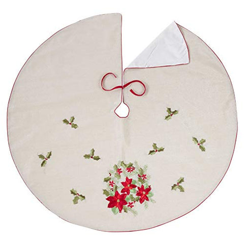 Fennco Styles Embroidered Holiday Poinsettia Linen Poly Home Decor Collection Tree Skirt