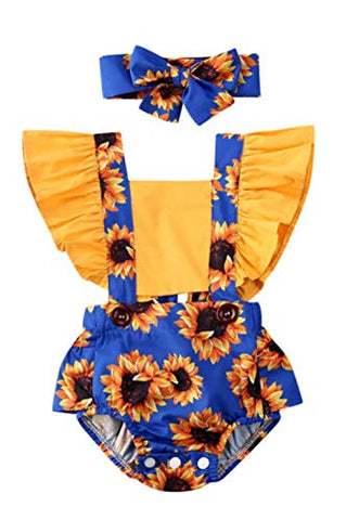 Styles I Love Baby Girl Sunflower Print Ruffle Open Back Romper Sunsuit with Headband 2pcs Set Summer Outfit