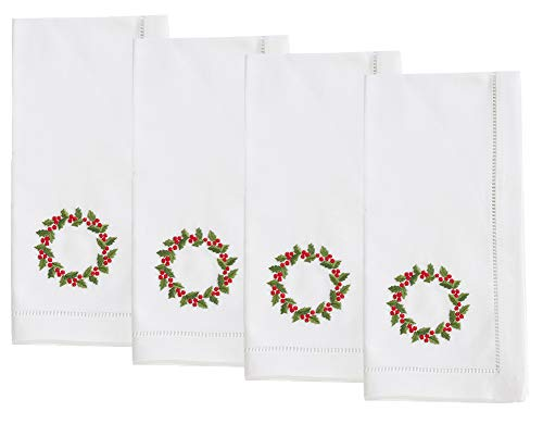 Fennco Styles Holiday Cotton Embroidered Wreath 20 Inch Square Dinner Napkins, Set of 4 - White Festive Cloth Napkins for Dining Table, Christmas Parties & Home Decor