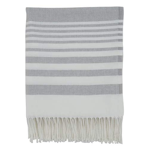"Fennco Styles Classic Striped Fringed Design Throw Blanket 50"" W x 60"" L, 2 Colors - Lightweight Blanket for Couch, Bedroom and Living Room Décor"