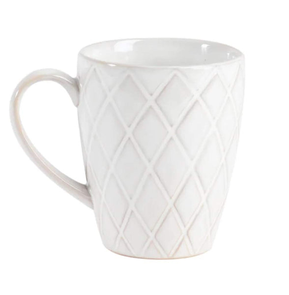 Diamond Design Ivory Coffee Mug Dishwasher Microwave Safe Beverage Set