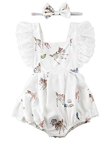 Styles I Love Baby Girl Reindeer Sleeveless Lace Ruffle Romper Sunsuit with Headband 2pcs Set Special Event Holiday Outfit