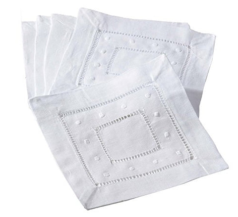 Handmade Hemstitch and Embroidered Swiss Dot Cocktail Napkins, Set of 4. (white)
