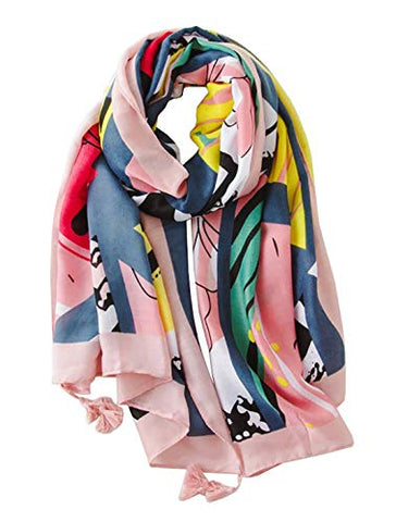 StylesILove Spring Summer Vivid Floral Printed Lightweight Tassel Scarf Bohemian Wrap Shawl for Women Girls