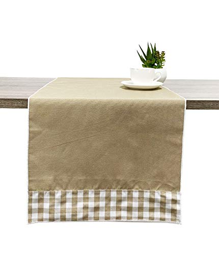Fennco Styles Handmade Reversible Checkered Border Design Table Runner - Check Table Cover for Home, Dining Table, Banquet, Family Gathering and Special Occasion