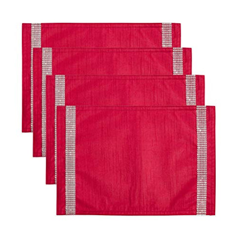 Fennco Styles Brillant Collection Contemporary Tasseled Studded Boarder 14 x 20 Inch Place Mats, Set of 4 – Red Placemats for Christmas, Wedding Banquets, Family Gather, Special Events and Home Décor