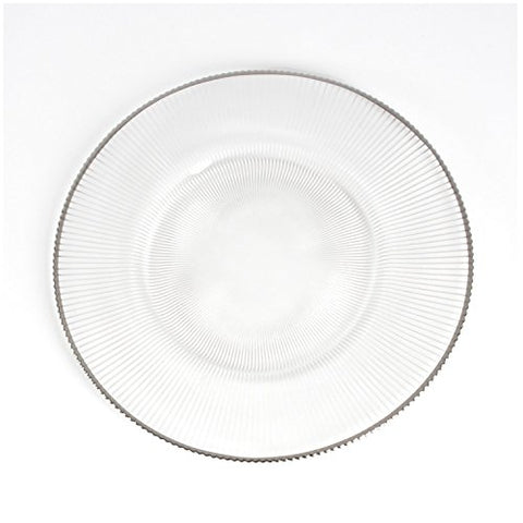 "Fennco Styles Pleated Design 13"" Decorative Glass Charger Plate-Set of 6"
