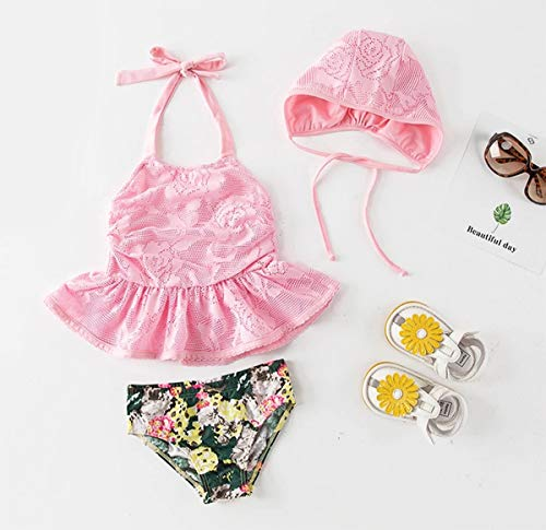 Styles I Love Little Girls Floral Lace Bikini Swimsuit with Sun Hat 3pcs Pink Bathing Suit Beach Swimsuit