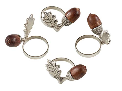 Fennco Styles Classic Acorn Design Silver Brass Napkin Rings, Set of 4